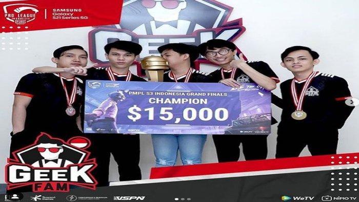 Profil Tim Geek Fam, Juara PMPL ID Season 3, Jadi Wakil Indonesia di Turnamen Asia PEI 2021