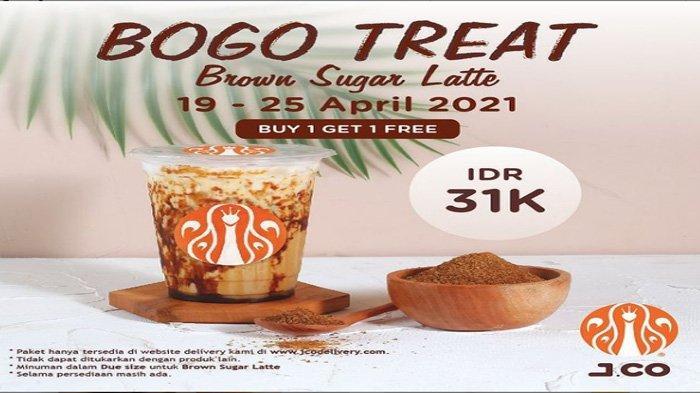 Promo Mingguan Bogo Treat JCO, 2 Brown Sugar Latte Cuma Rp 31.000 Cocok Jadi Teman Weekend