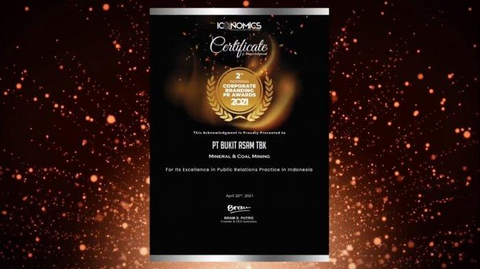 PTBA Raih Corporate Branding PR Award 2021