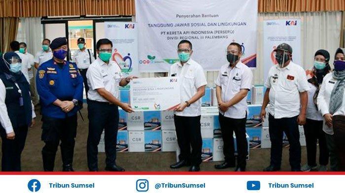 Gelontorkan CSR Ratusan Juta, PT KAI Divre III Palembang Sumbang Masker ke Pemkot Palembang