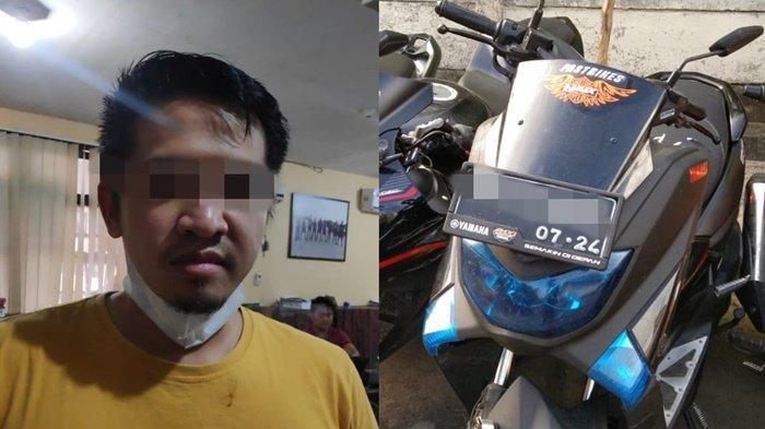 Rian Janu Dinata (30) tersangka penggelapan sepeda motor teman saat ditangkap Polrestabes Palembang.