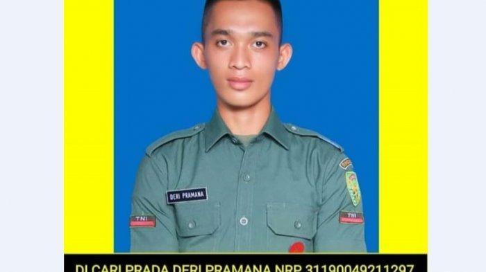 Pomdam II Sriwijaya menyebar foto Prada DP sekaligus nomor telepon yang bisa dihubungi bagi yang melihat orang yang kini sedang dicari tersebut. (Istimewa)