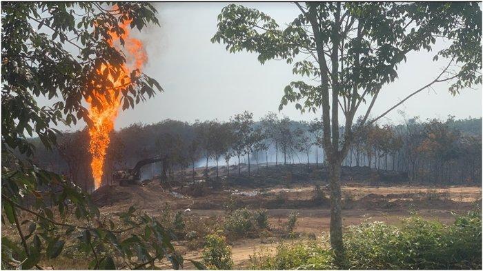 2 Semburan Api dari Sumur Minyak di Sanga Desa Berhasil Dipadamkan, Tim Pakai Lumpur dan Deterjen