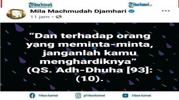 Mila Machmudah Djamhari diduga menyindir Baim Wong dengan mengutip ayat suci alquran,Rabu(13/10/2021).