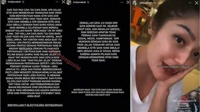 Instagram Story Siti Badriah dan Suaminya Tanggapi Pernyataan Lesti Kejora pada Medio Februari silam, Senin (12/4/2021)