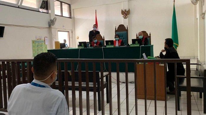 Sidang virtual terdakwa Taufik Hidayat yang digelar di Pengadilan Negeri Palembang, Senin (14/6/2021)