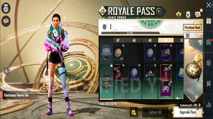 Bocoran Skin Level 50 PUBG Mobile Royale Pass 18- Electronica Hearts Set