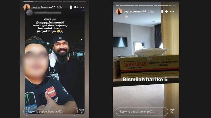 Story instagram komedian Peppy pasca dinyatakan positif covid-19