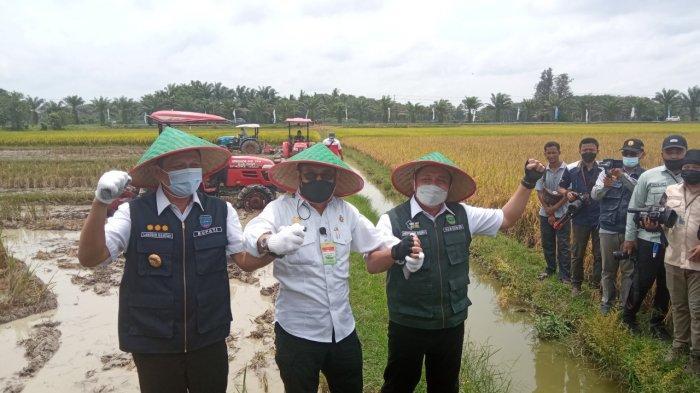 Bupati OKU Timur Bersama Gubernur Sumsel Dampingi Menteri Pertanian Panen Raya