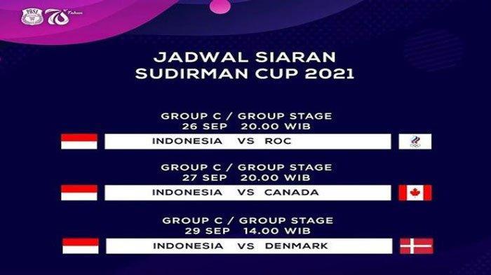 Jadwal dan Live Score Sudirman Cup 2021 Malam Ini, Tim Badminton Indonesia Vs Rusia (ROC)