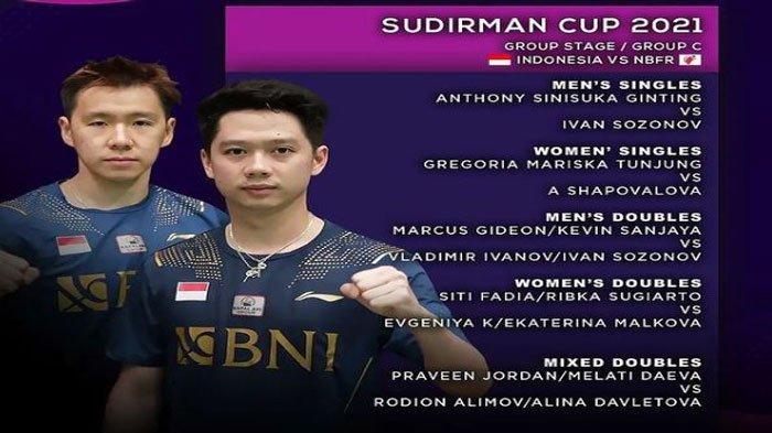 Daftar Lengkap Susunan Pemain Bulutangkis Indonesia Vs Rusia (NBFR) di Sudirman Cup 2021