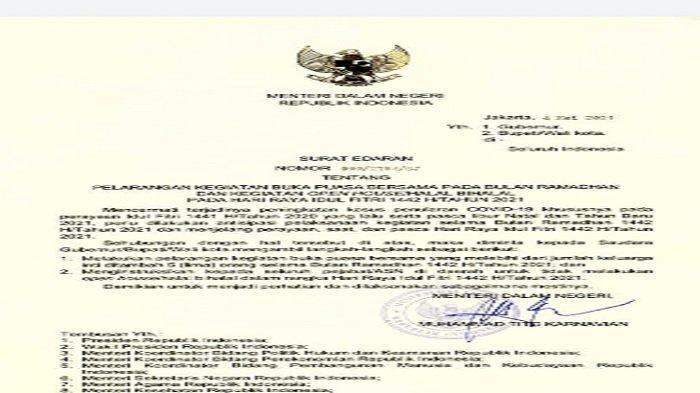 Surat Edaran Mendagri terkait larangan bukber dan pejabat tidak boleh melakukan open house