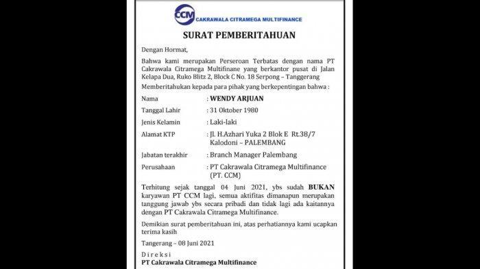 PEMBERITAHUAN : PT Cakrawala Citramega Multifinance - Sdr Wendy Arjuan Bukan Karyawan PT CCM Lagi