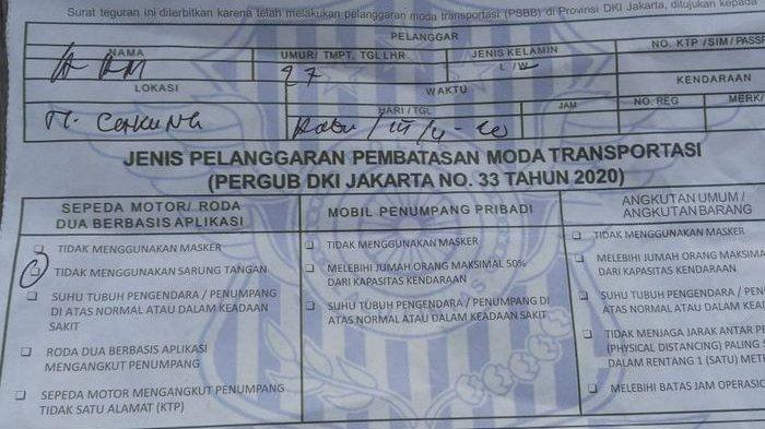 Surat Tilang Pelanggar PSBB Aturan Moda Transportasi Ada di Palembang ? Ini Kata Kasat Lantas