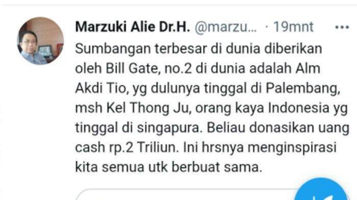 Tangkap layar media sosial Mantan Ketua DPR RI Marzuki Alie mengungkap fakta lain Akidi Tio, yang menjadi trending topik karena menyumbang Rp 2 triliun.