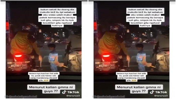 Tangkap layar video viral anak jalanan pukul pengendara sepeda motor karena tidak diberi uang. Video diduga terjadi di simpang lampu merah Charitas Palembang.