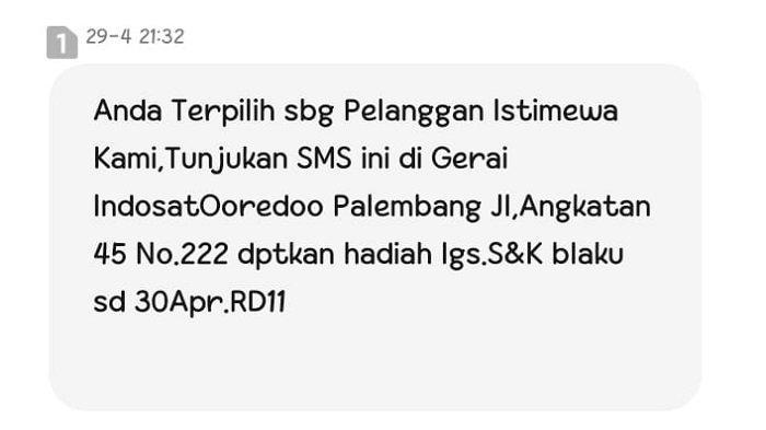 Tangkapan Layar SMS dari Indosat