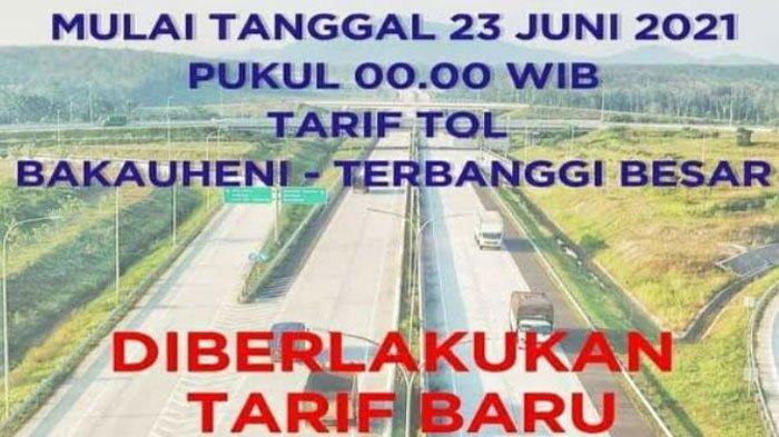 Tarif Tol Bakauheni Terbanggi Besar Lampung Naik Mulai 23 Juni 2021, Ini Daftar Tarif Terbaru