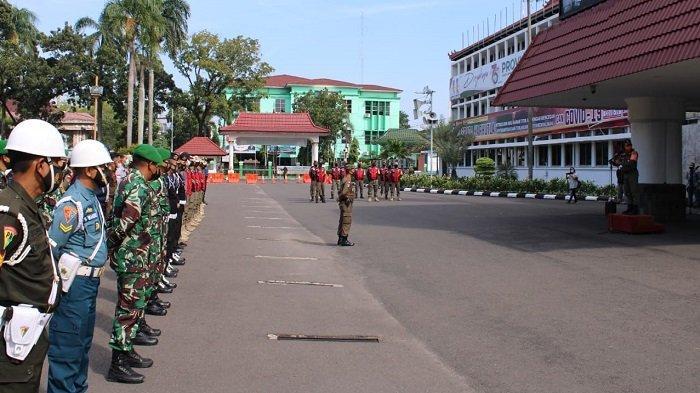 Tim Gabungan Penegakan Disiplin Pengendalian Covid- 19 Gelar Apel Bersama di Kantor Gubernur Sumsel
