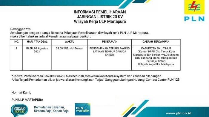 Besok TNI AD dan US Army Latihan Terjun Payung, PLN Padamkan Listrik Sejumlah Kawasan OKU Timur