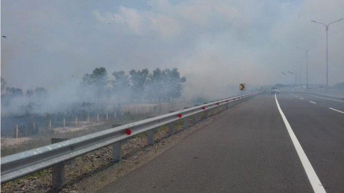 Kabut Asap Kebakaran Lahan Ganggu Pandangan dan Bikin Kaget Pengguna Jalan Tol Palindra