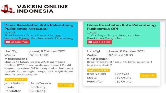 Info Daftar Vaksin Online Palembang Oktober 2021, Dosis 1 dan 2, Jenis Sinovac, Moderna, Astrazeneca