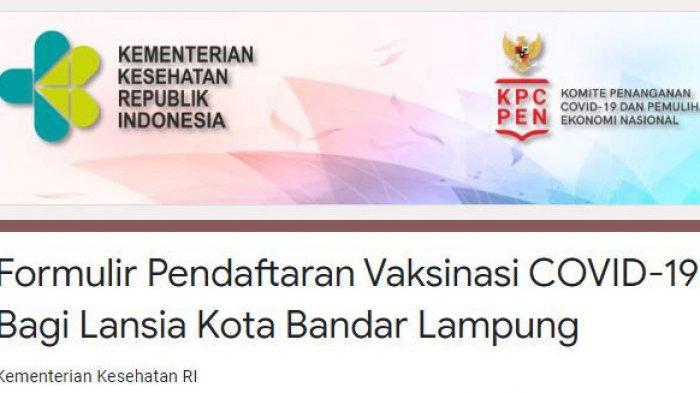 Ini Link Pendaftaran Online Vaksinasi Covid-19 untuk Lansia di Palembang, Lampung, Jambi, Bengkulu