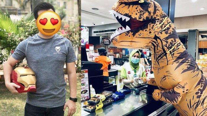 Viral Pria Memakai Kostum T-rex Saat Berbelanja di Supermaket, Ternyata Bukan Orang Sembarangan