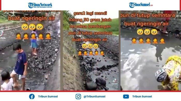 Viral Video Diduga Kalung Emas 50 Gram Hilang saat Mandi di Air Sungai, Bendungan Sampai Dikeringkan