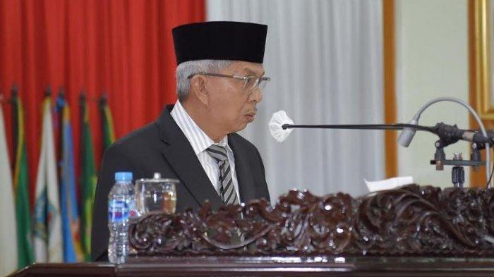 Gubernur Sumsel yang diwakili Wakil Gubernur Sumsel Mawardi Yahya, menyampaikan jawaban terhadap pandangan sembilan fraksi-fraksi DPRD Provinsi Sumsel, Rabu (25/11/2020)