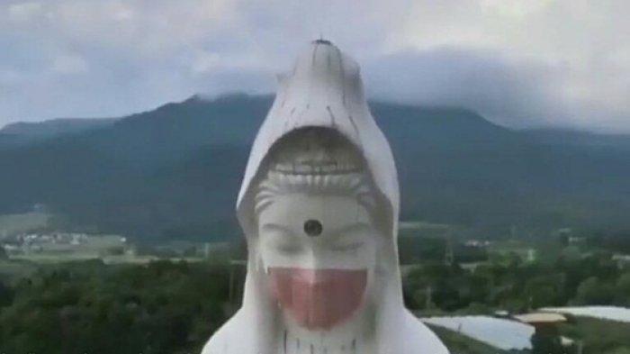 Aksi Pekerja di Jepang Pasangkan Masker di Patung Dewi Kwan Im, Berharap Pandemi Covid Berakhir