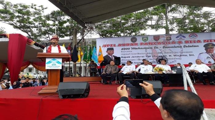 Wiranto Hadiri Apel Akbar Pancasila dan Bela Negara di Kampus UIN Raden Fatah Palembang