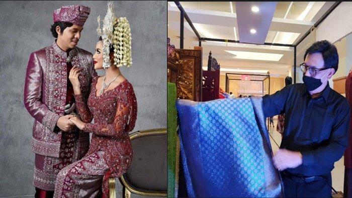 Pasangan youtuber dan selebriti Atta Aurel mengenakan songket buatan perajin songket Palembang Zainal (kiri). Zainal menunjukkan songket karya buatannya yang dibuat dari bahan sutera.