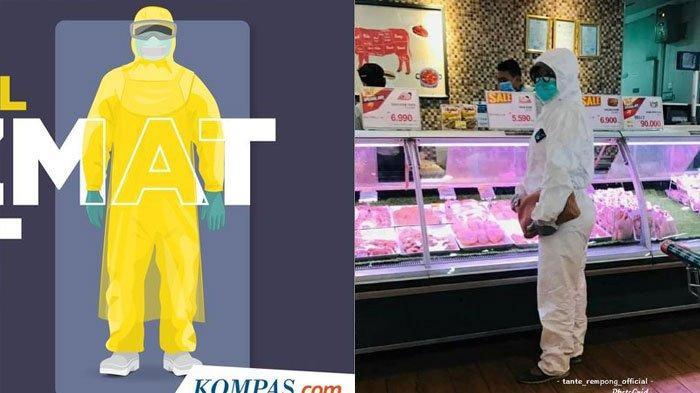 5 FAKTA Foto Viral Ibu-ibu ke Pasar Pakai APD Diduga di Surabaya, ini Fungsi Sebenarnya Baju Hazmat