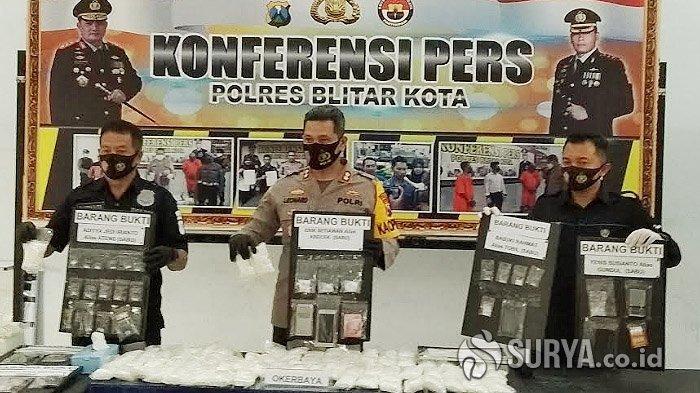 Bekuk 11 Pengedar Narkoba, Polisi di Blitar Sita 57 Gram Sabu dan 77 Ribu Butir Pil Dobel L
