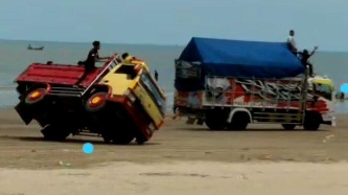 Video Viral Balap Liar Truk di Pantai Cemara Tuban, Terungkap Identitas Pengemudinya