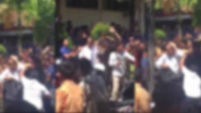 Aksi Kerusuhan di SMP Dwijendra Bali Viral, Seorang Pria Sampai Dilempari Botol dan Batang Tanaman