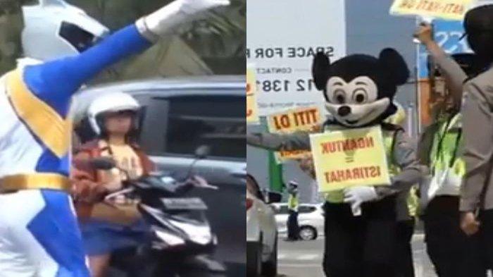 Para Petugas Lalu Lintas Berkostum Unik Hibur Pemudik di Solo, Berjoget Hingga Bagikan Balon Juga!