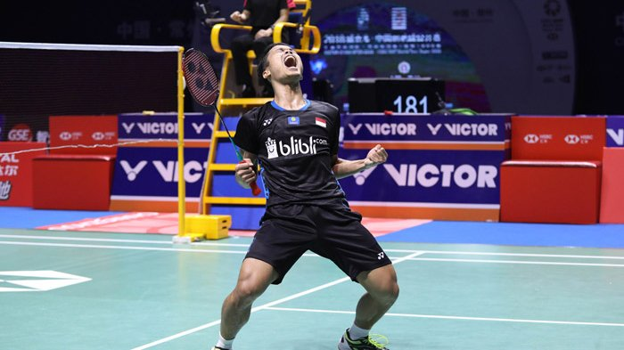Ekspresi kegembiraan Antony Sinisuka Ginting usai menjadi juara China Open 2018