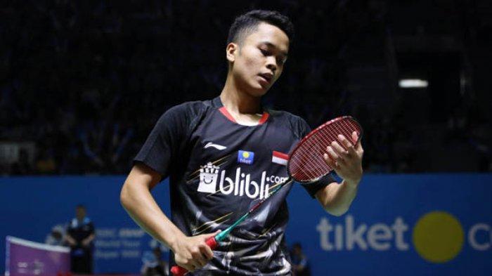 Anthony Sinisuka Ginting, tungal putra Indonesia tersingkir di babak kedua Indponesia Open 2019. Ia takluk atas pemain non unggulan asal Thailand.