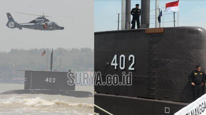 Kapal selam KRI Nanggala 402 usai pemberian anugerah brevet kapal selam Hiu Kencana di Dermaga Ujung, Koarmatim, Surabaya, Sabtu (18/10/2014).