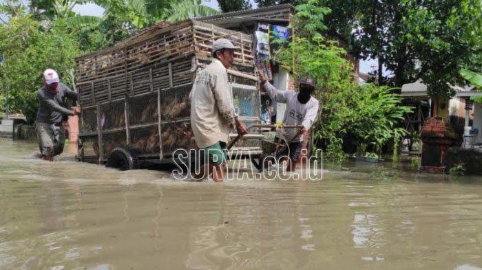 Banjir dan Angin Kencang Terjang Permukiman Penduduk di Mojosari Kabupaten Mojokerto