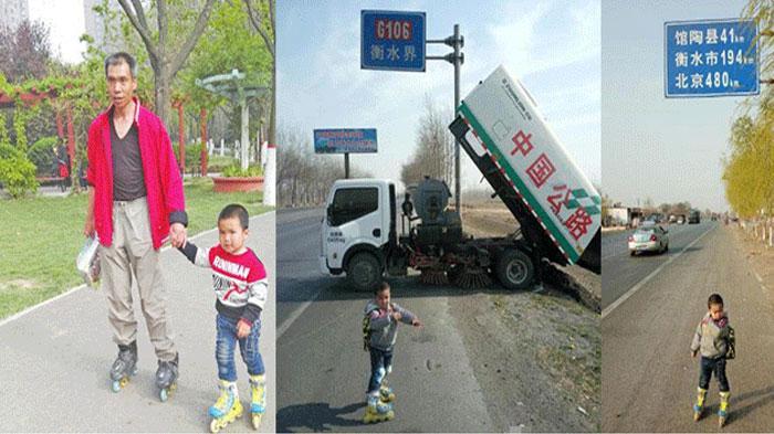 GALERI FOTO - Ayah Membawa Anaknya yang Berusia Empat Tahun Berjalan 540 Km Demi Pelajaran ini
