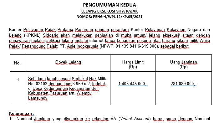 Pengumuman Kedua Lelang Eksekusi Sita Pajak Sebidang Tanah di Kecamatan Beji Kabupaten Pasuruan