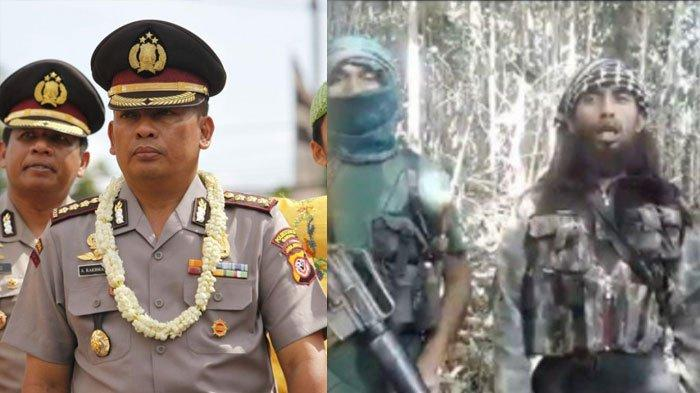 Kapolda Sulteng Irjen Abdul Rakhman Baso (kiri) diperintahkan berkantor di Poso untuk mengejar kelompok teroris Ali Kalora (kanan). Profil dan biodatanya ada di artikel ini
