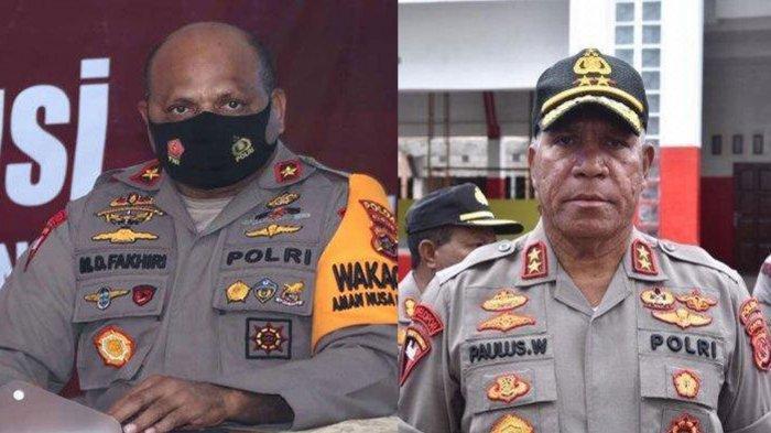 Irjen Mathius D Fakhiri (kiri) Dilantik Kapolri Listyo Sigit Prabowo Jadi Kapolda Papua menggantikan Paulus Waterpauw (kanan). Profil dan biodatanya ada di artikel ini