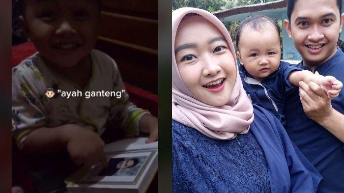 cuplikan video bocah 2 tahun ciumi foto ayahnya di buku yasin (kiri). Momen kebersamaan bocah 2 tahun dan orang tuanya (kanan)