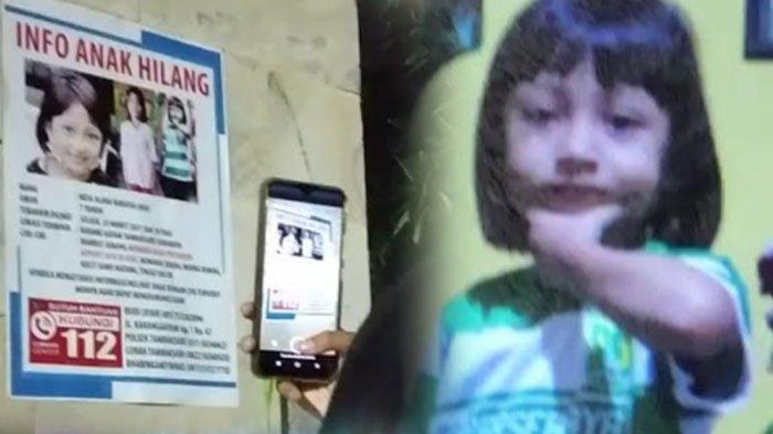 Seorang remaja sedangmengabadikan gambarPoster hilangnya seorang bocah bernama Nesa Alana Karaisa atau Ara (7), asal Karang Gayam,lewat kamera ponsel,Jembatan Merah Plaza, Jumat malam (26/3/2021).