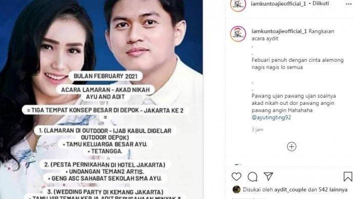 bocoran rundown pernikahan Ayu Ting Ting dan Adit Jayusman