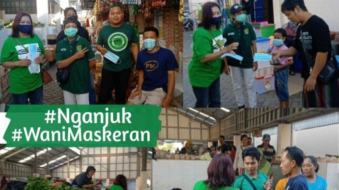 Gerakan Satu Juta Masker, Bonek Nganjuk Bagikan Masker dan Edukasi Trisula Wani di Pasar Wage